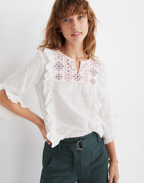 Embroidered Cassia Ruffle Top in lighthouse image 1