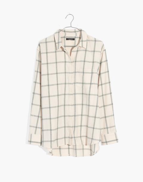 Flannel Oversized Ex-Boyfriend Shirt in Windowpane in balsam plaid vintage linen image 4