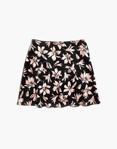 Satin Circle Mini Skirt in Winter Orchid in brigette true black image 3