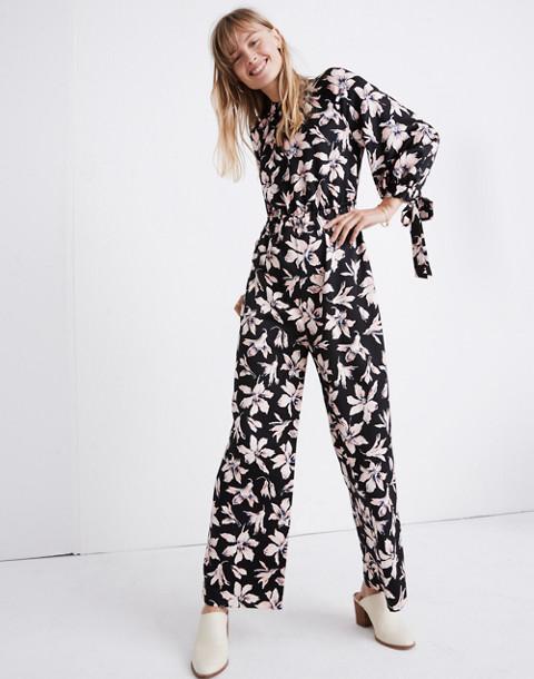 Tie-Sleeve Jumpsuit in Winter Orchid in brigette true black image 2