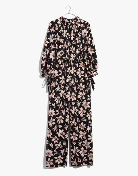 Tie-Sleeve Jumpsuit in Winter Orchid in brigette true black image 4