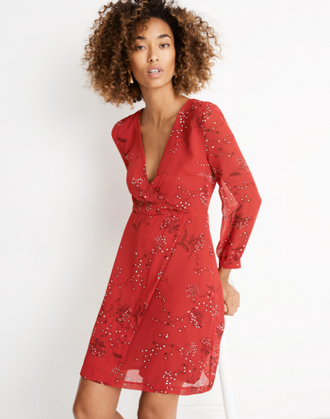 Hazelwood Wrap-Front Mini Dress in Windswept Floral in americana floral cranberry image 2