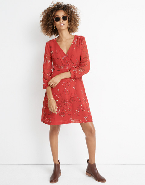 Hazelwood Wrap-Front Mini Dress in Windswept Floral in americana floral cranberry image 3