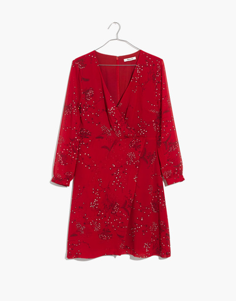 Hazelwood Wrap-Front Mini Dress in Windswept Floral in americana floral cranberry image 4
