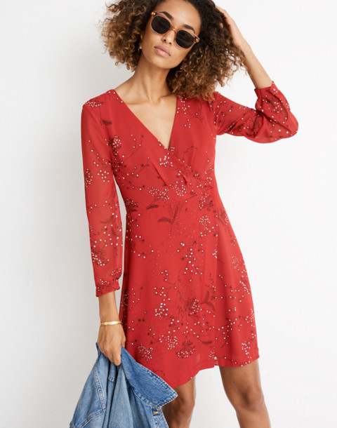 Hazelwood Wrap-Front Mini Dress in Windswept Floral in americana floral cranberry image 1