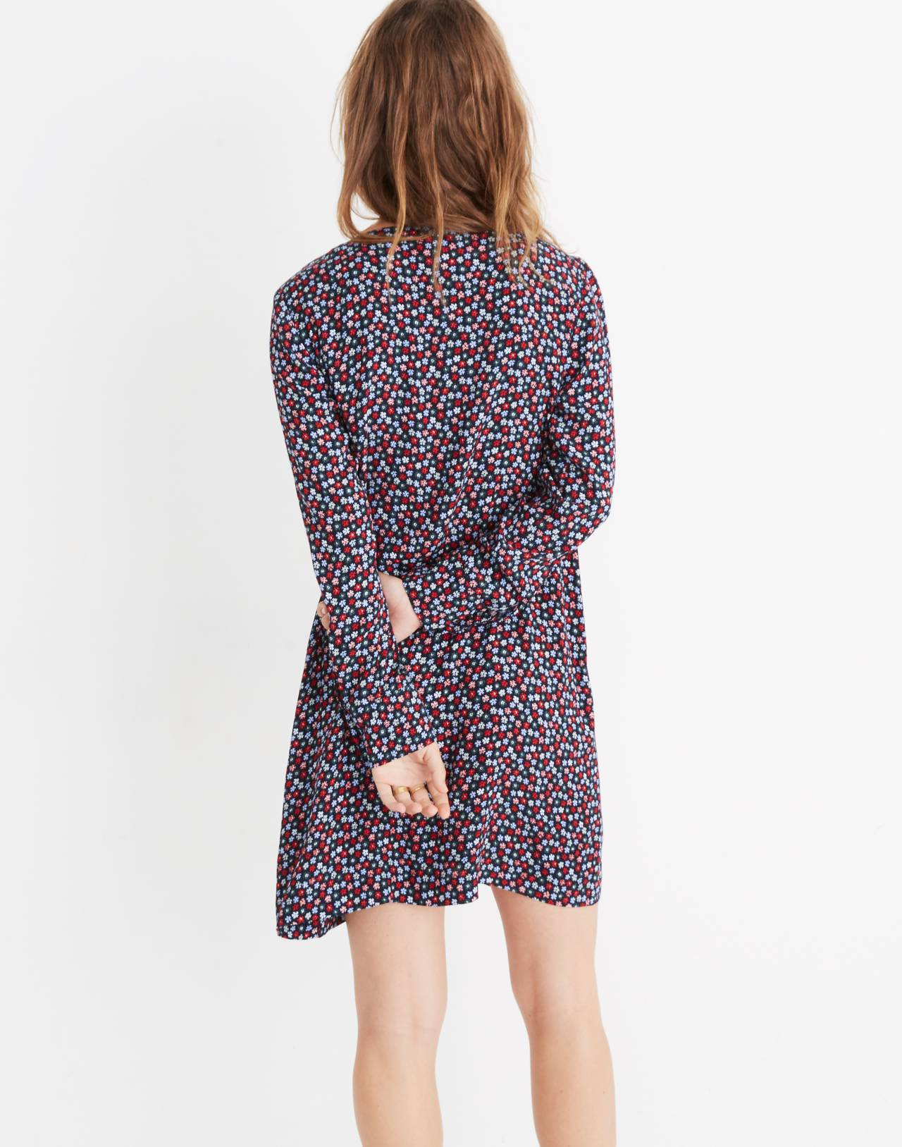 Button-Front Mini Dress in Petite Blooms in calico deep navy image 3