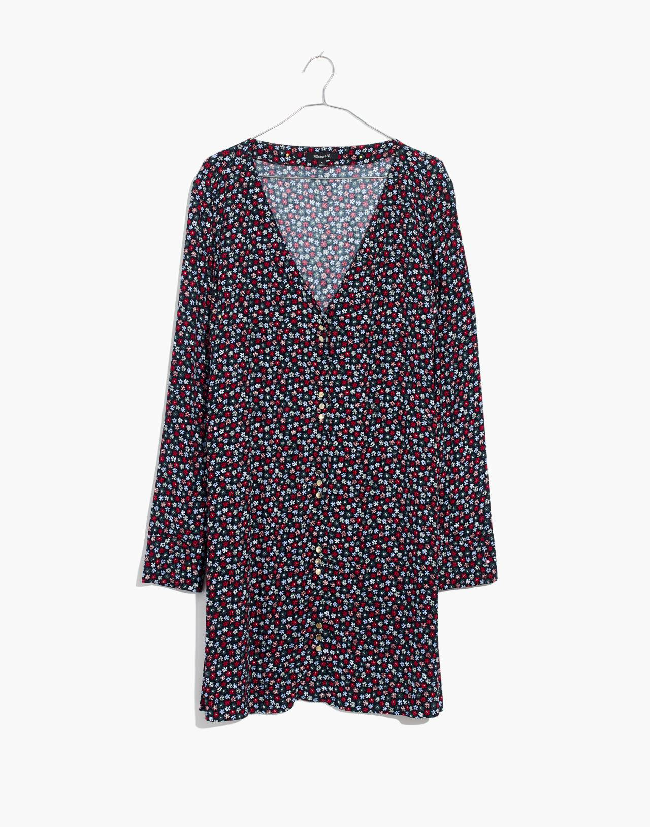 Button-Front Mini Dress in Petite Blooms in calico deep navy image 4
