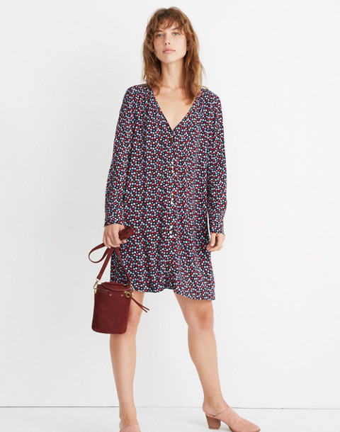 Button-Front Mini Dress in Petite Blooms in calico deep navy image 1