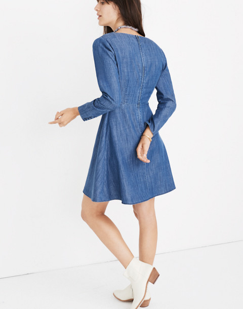 Denim Lilyblossom Button-Front Dress in landers wash image 3