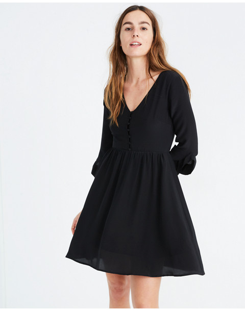 Silk Moonblossom Ruffle-Sleeve Dress in true black image 2