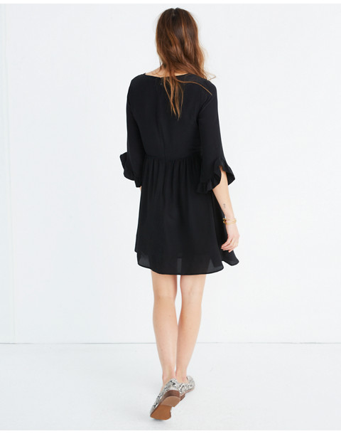 Silk Moonblossom Ruffle-Sleeve Dress in true black image 3