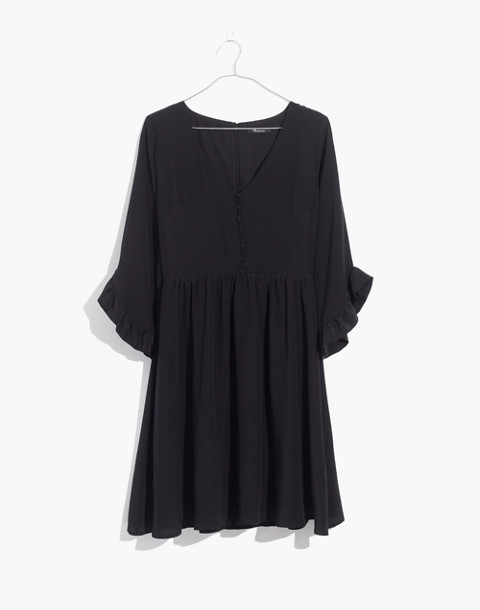 Silk Moonblossom Ruffle-Sleeve Dress in true black image 4