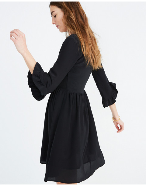 Silk Moonblossom Ruffle-Sleeve Dress in true black image 1