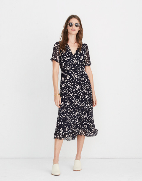 Ruffle-Edge Wrap Dress in Drifting Petals in paintbrush deep navy image 2