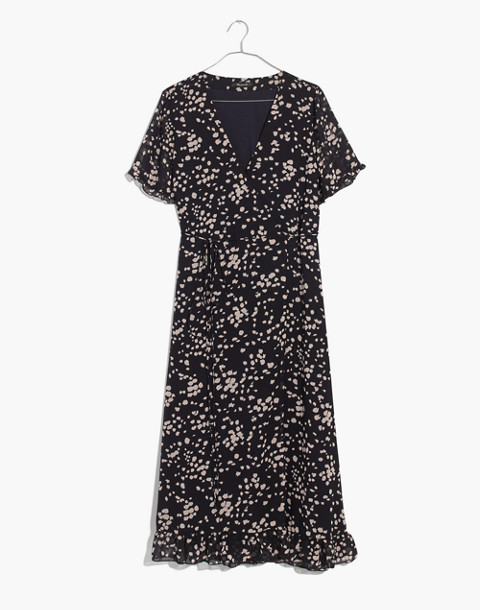 Ruffle-Edge Wrap Dress in Drifting Petals in paintbrush deep navy image 4
