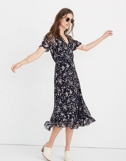 Ruffle-Edge Wrap Dress in Drifting Petals in paintbrush deep navy image 1