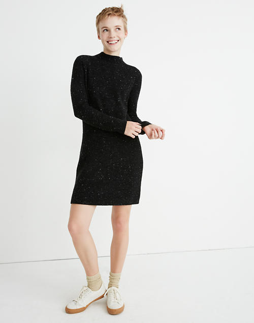 7fcc6d956274a Donegal Northfield Mockneck Sweater-Dress in Coziest Yarn in donegal storm  image 1