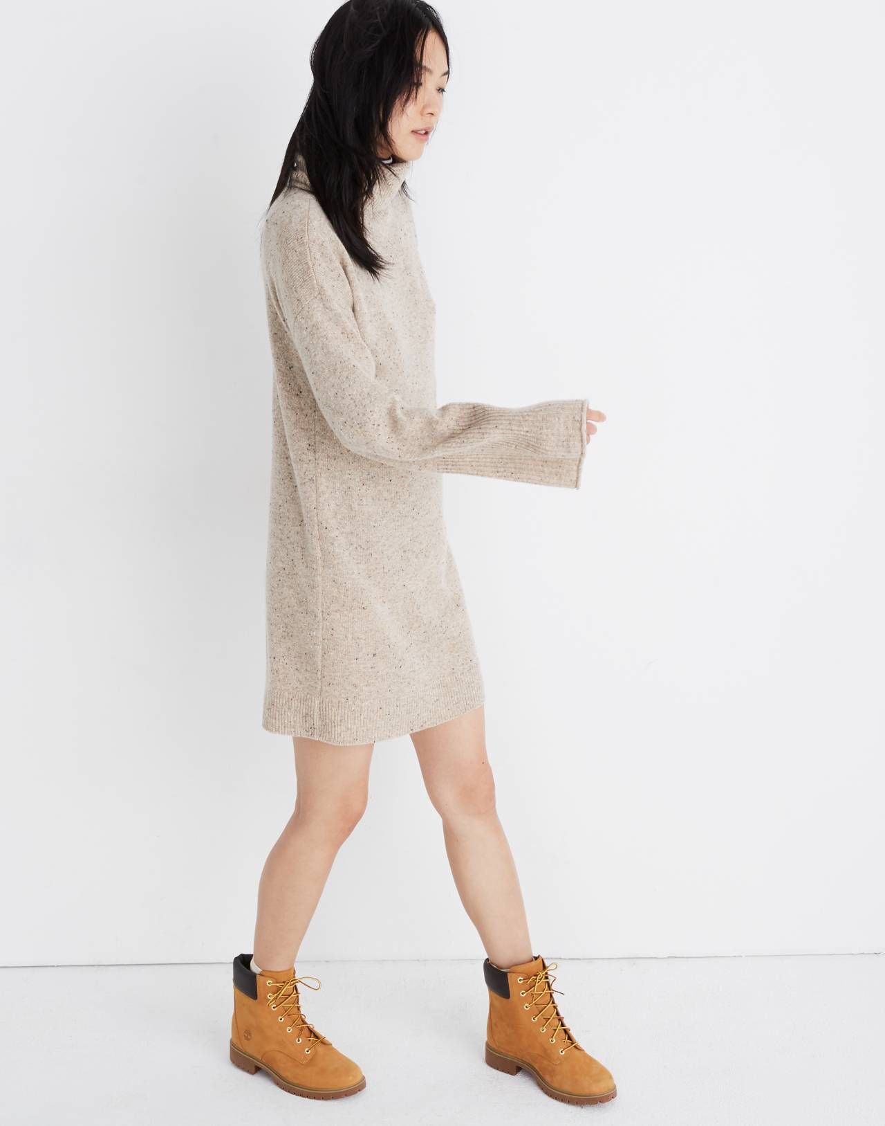 Bell-Sleeve Turtleneck Sweater-Dress in donegal ryewater image 2