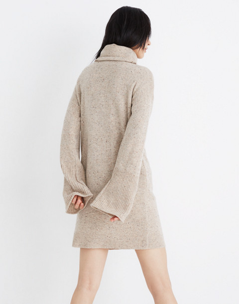 Bell-Sleeve Turtleneck Sweater-Dress in donegal ryewater image 3