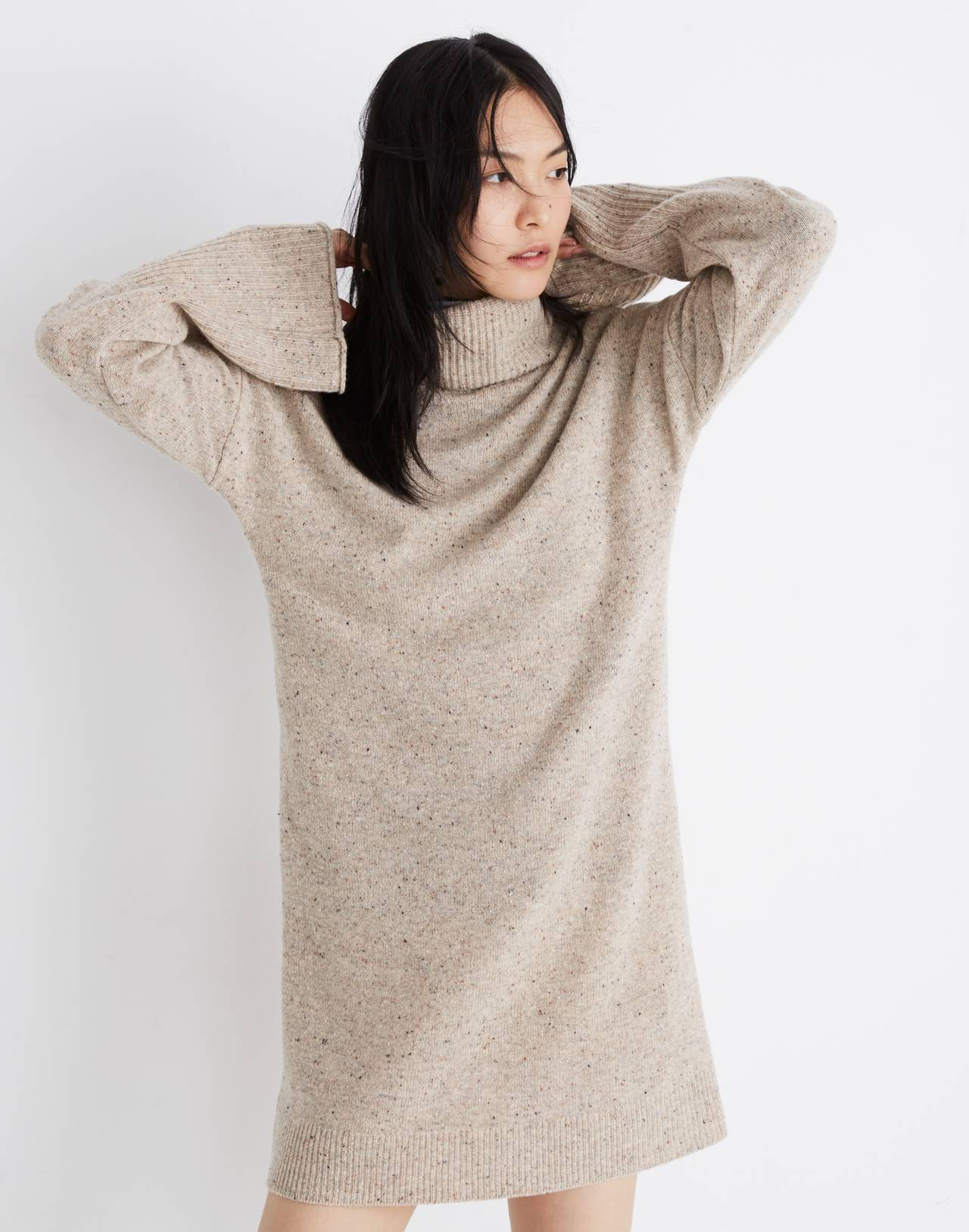 Bell-Sleeve Turtleneck Sweater-Dress in donegal ryewater image 1