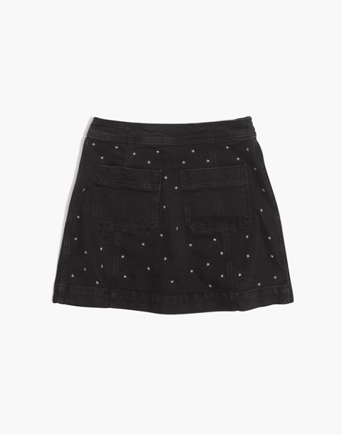 Stretch Denim A-Line Mini Skirt: Star Stud Edition in black frost image 4