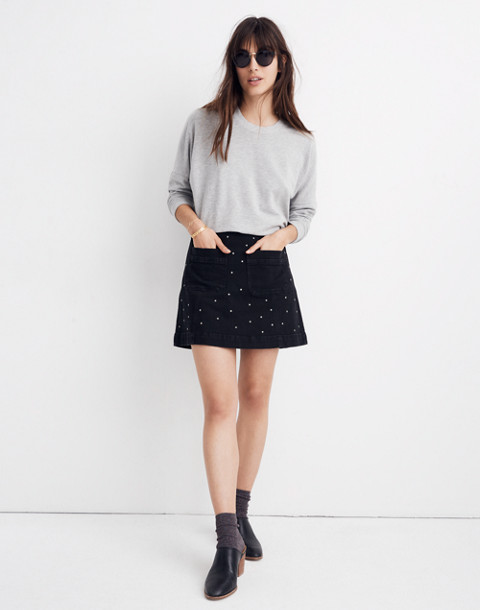 Stretch Denim A-Line Mini Skirt: Star Stud Edition in black frost image 1