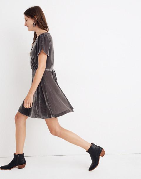 Velvet Wrap Dress in smoked graphite image 2