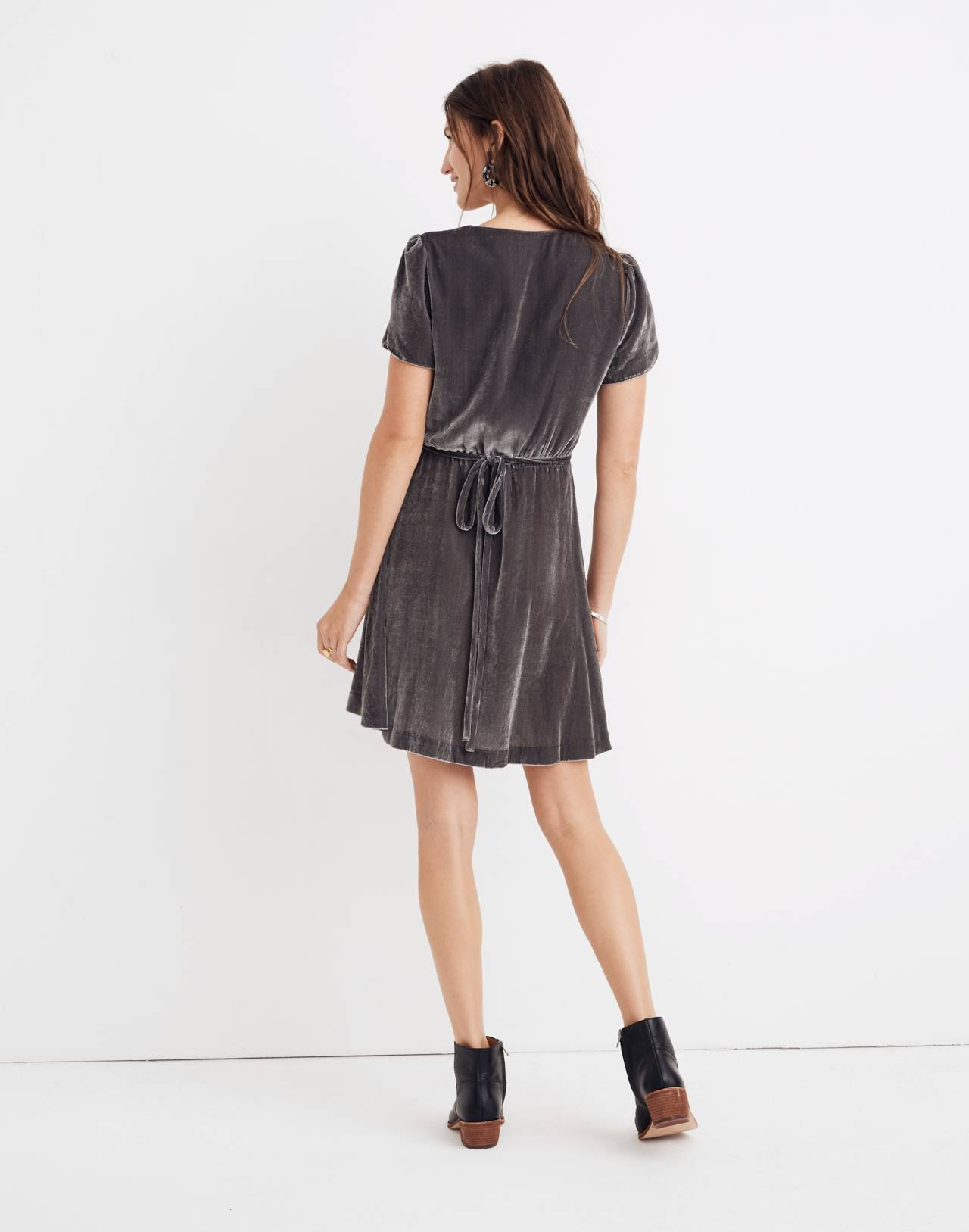 Velvet Wrap Dress in smoked graphite image 3