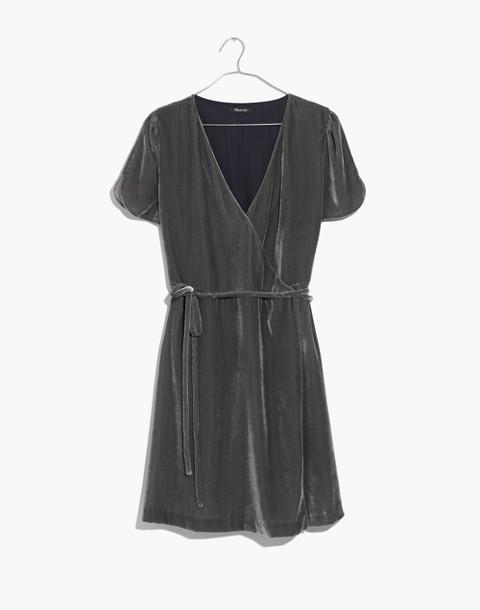Velvet Wrap Dress in smoked graphite image 4