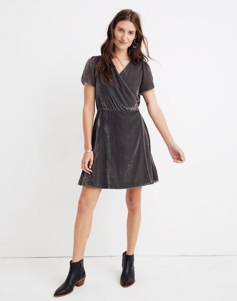 Velvet Wrap Dress in smoked graphite image 1