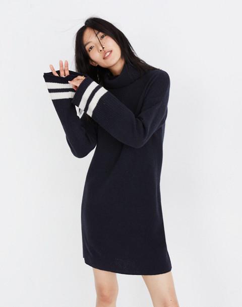 Bell-Sleeve Turtleneck Sweater-Dress in Nautical Stripe in nautical black image 2