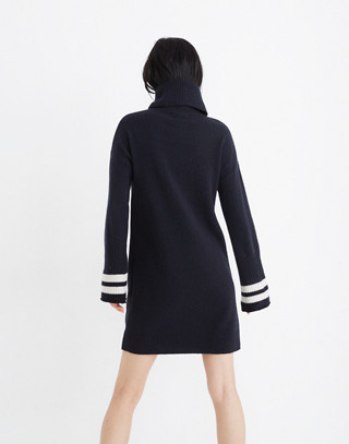Bell-Sleeve Turtleneck Sweater-Dress in Nautical Stripe in nautical black image 3
