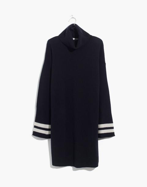 Bell-Sleeve Turtleneck Sweater-Dress in Nautical Stripe in nautical black image 4