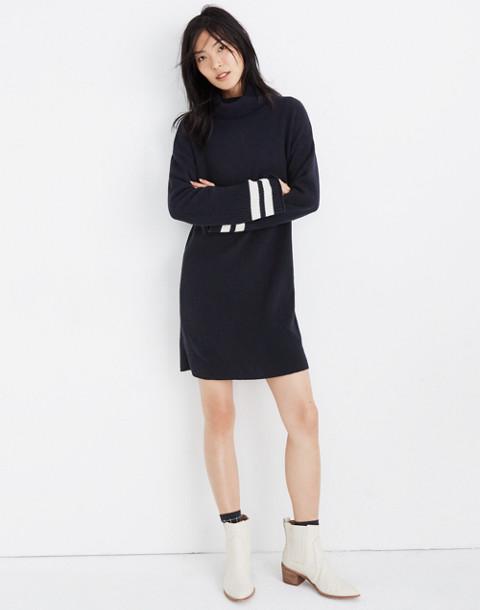 Bell-Sleeve Turtleneck Sweater-Dress in Nautical Stripe in nautical black image 1