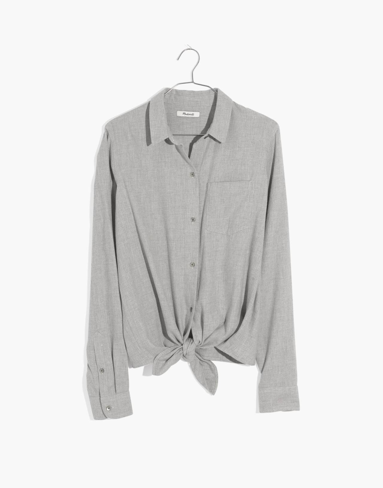 Flannel Tie-Front Shirt in hthr pewter image 4