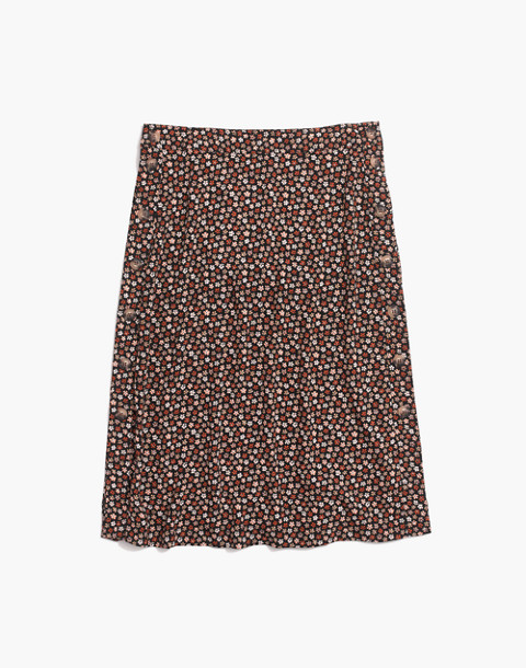 Side-Button Skirt in Petite Blooms in calico true black image 4