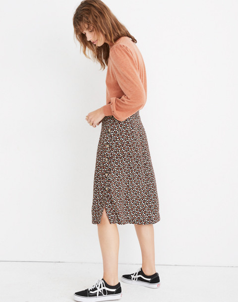 Side-Button Skirt in Petite Blooms in calico true black image 1