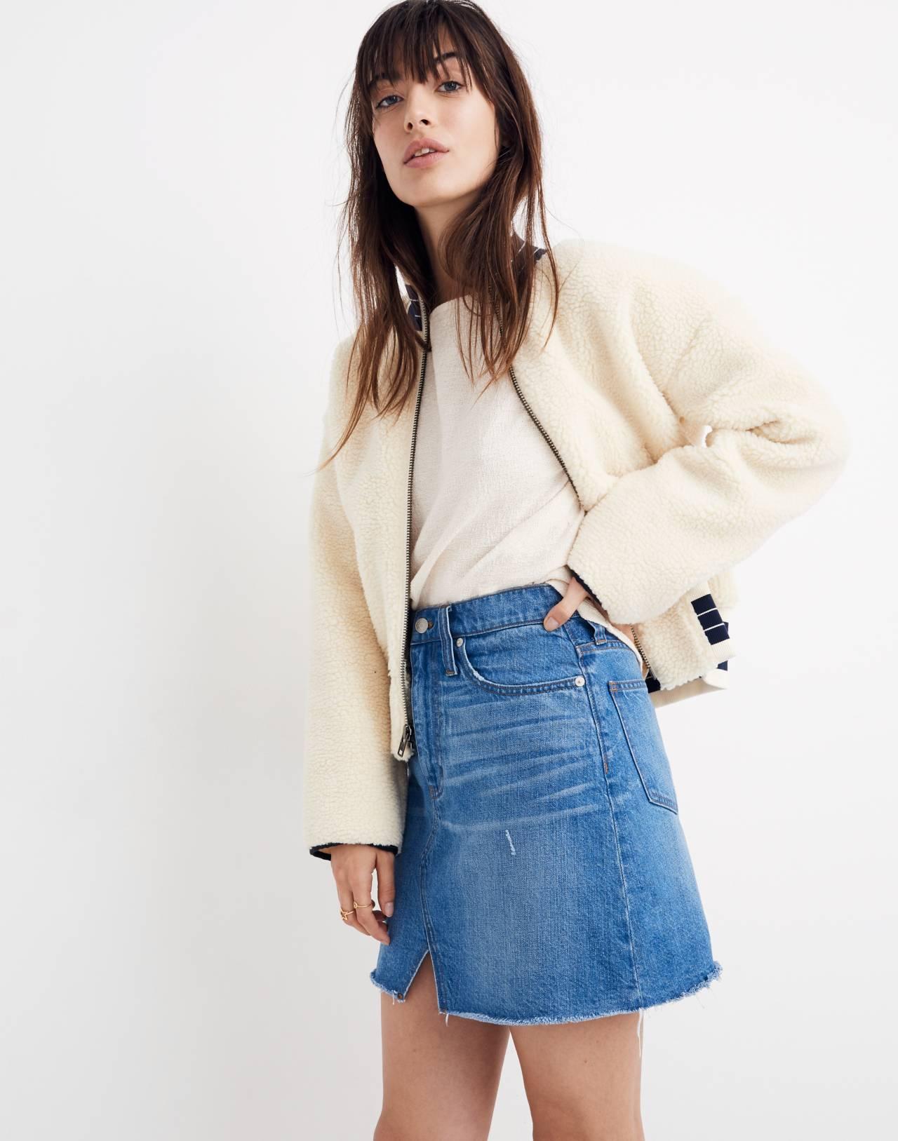 Rigid Denim A-Line Mini Skirt in Keene Wash: Cutout Edition in keene wash image 2