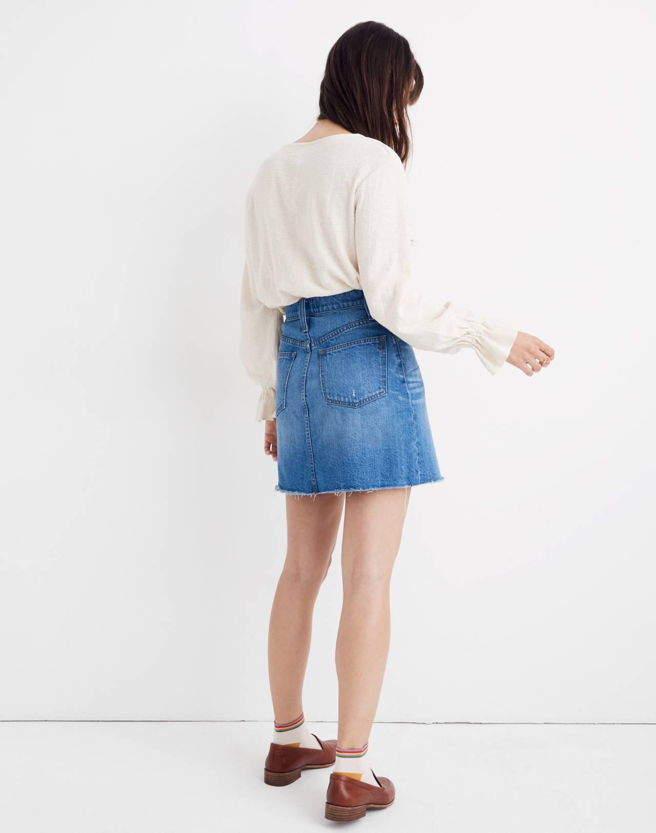 Rigid Denim A-Line Mini Skirt in Keene Wash: Cutout Edition in keene wash image 3