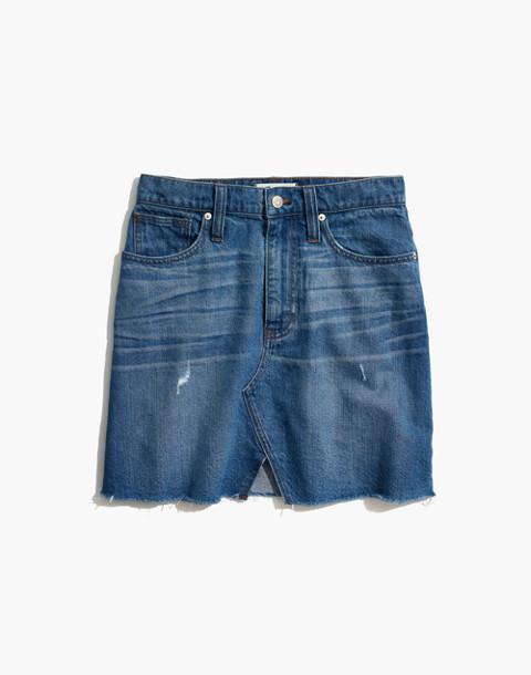 Rigid Denim A-Line Mini Skirt in Keene Wash: Cutout Edition in keene wash image 4