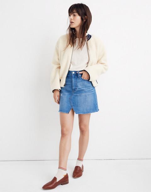 Rigid Denim A-Line Mini Skirt in Keene Wash: Cutout Edition in keene wash image 1