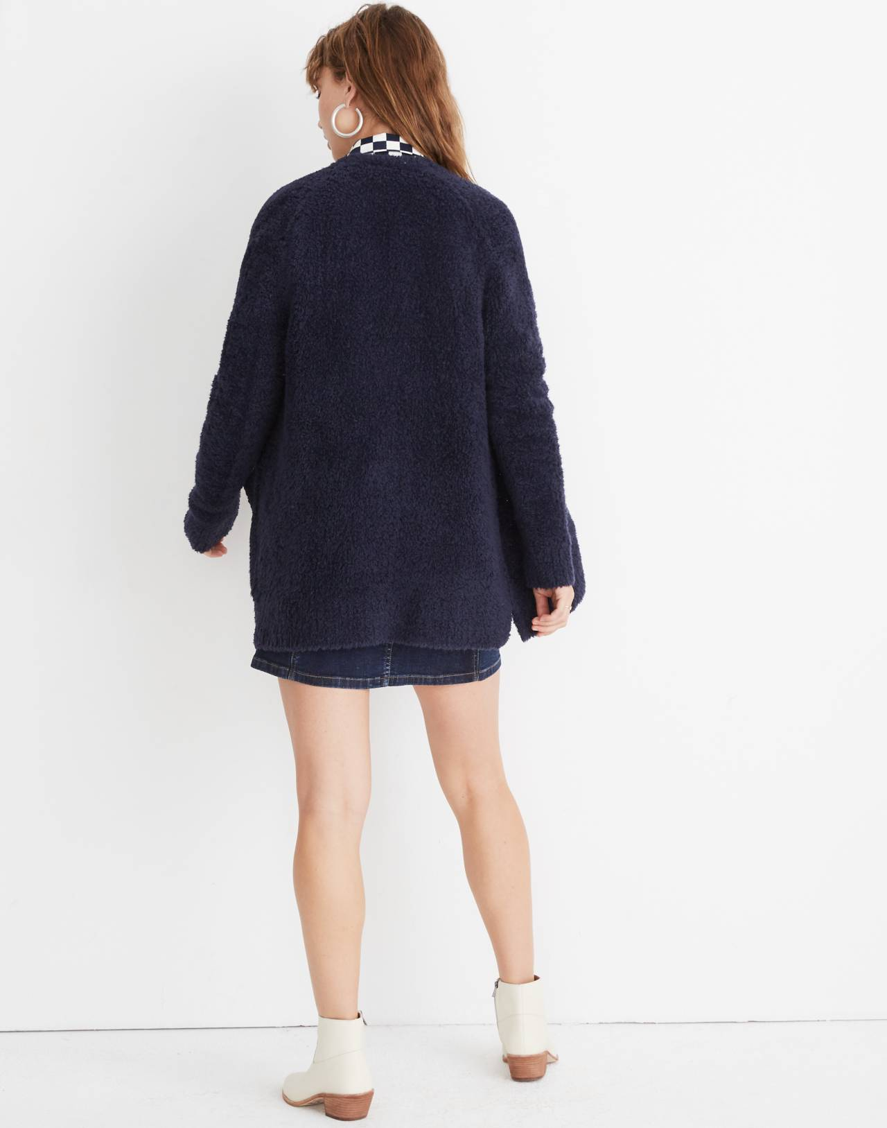 Teddy Cardigan Sweater in dark navy image 2