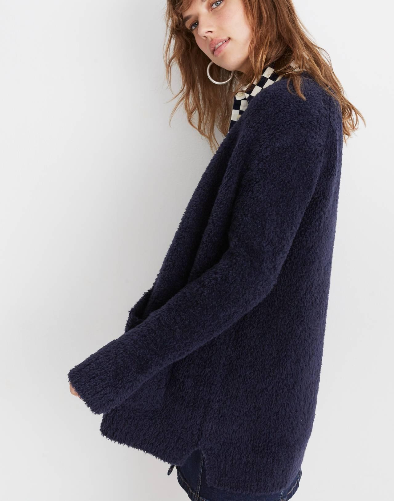 Teddy Cardigan Sweater in dark navy image 3