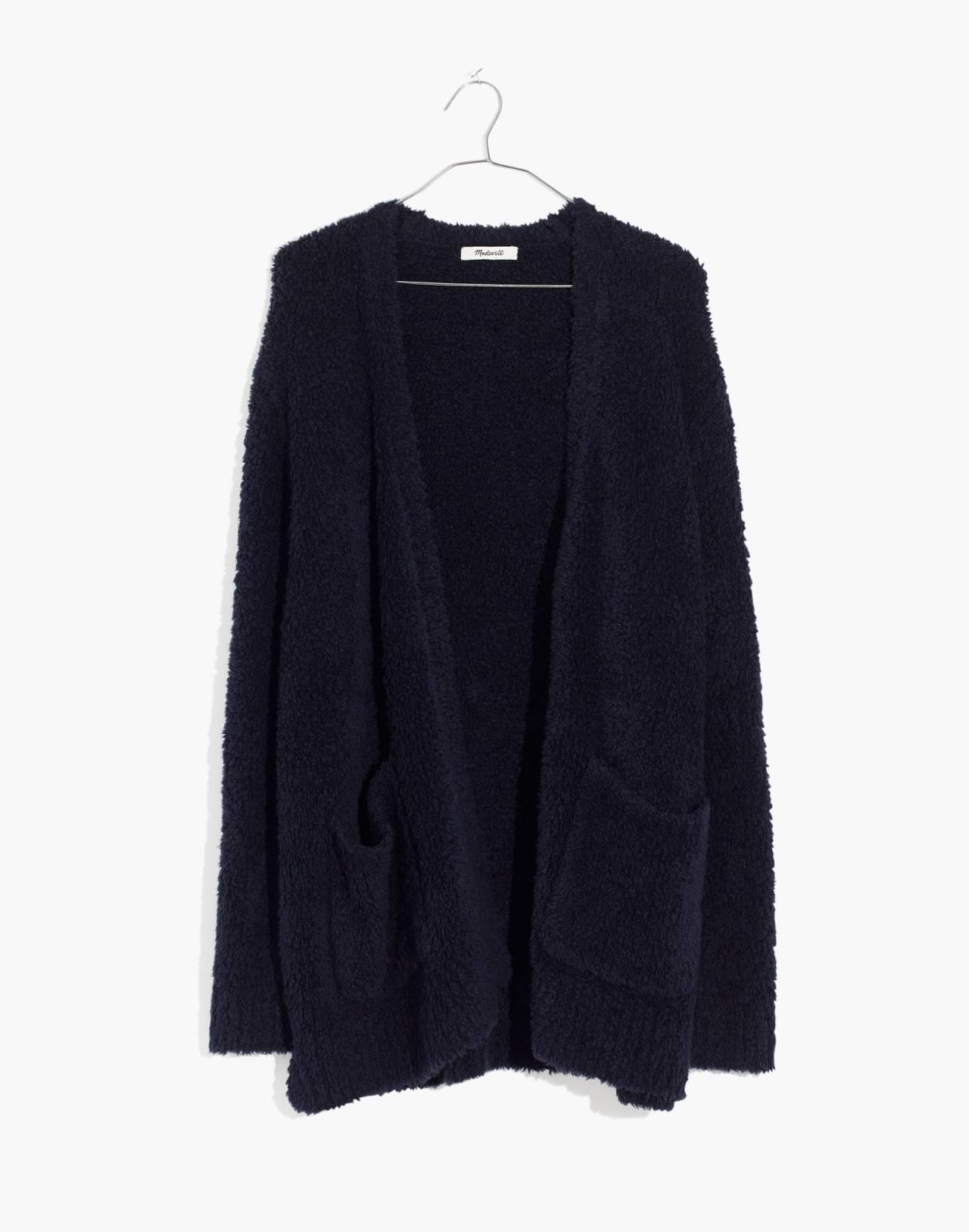 Teddy Cardigan Sweater in dark navy image 4