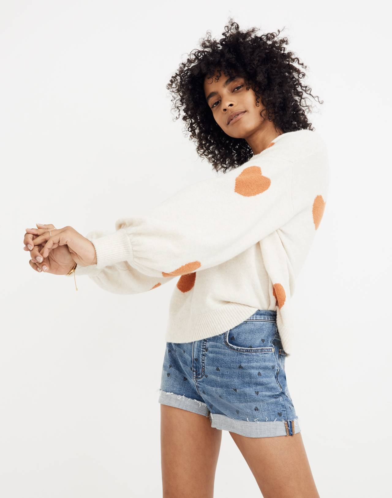 Heart Dot Balloon-Sleeve Pullover Sweater in heather smoke image 2