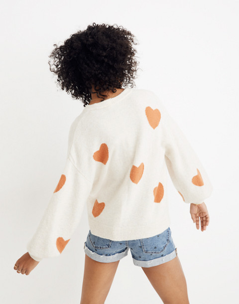 Heart Dot Balloon-Sleeve Pullover Sweater in heather smoke image 3