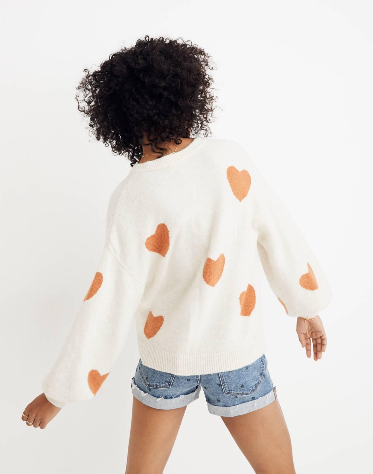 Heart Dot Balloon-Sleeve Pullover Sweater in heather smoke image 3