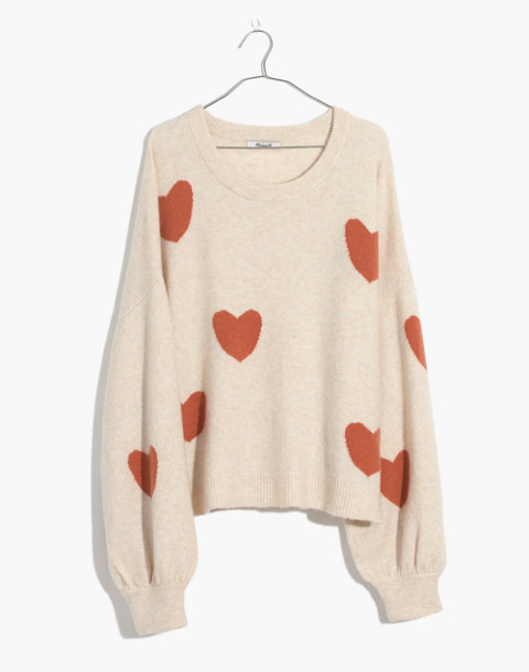 Heart Dot Balloon-Sleeve Pullover Sweater in heather smoke image 4