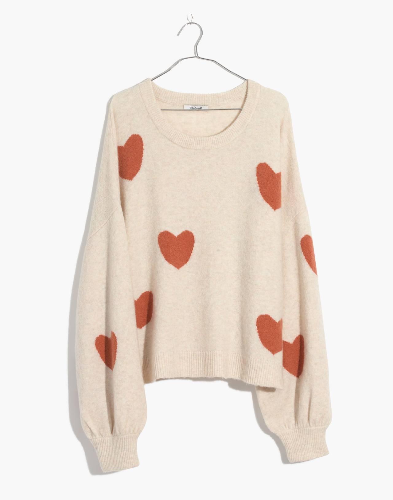 Heart Dot Balloon-Sleeve Pullover Sweater in heather smoke image 4