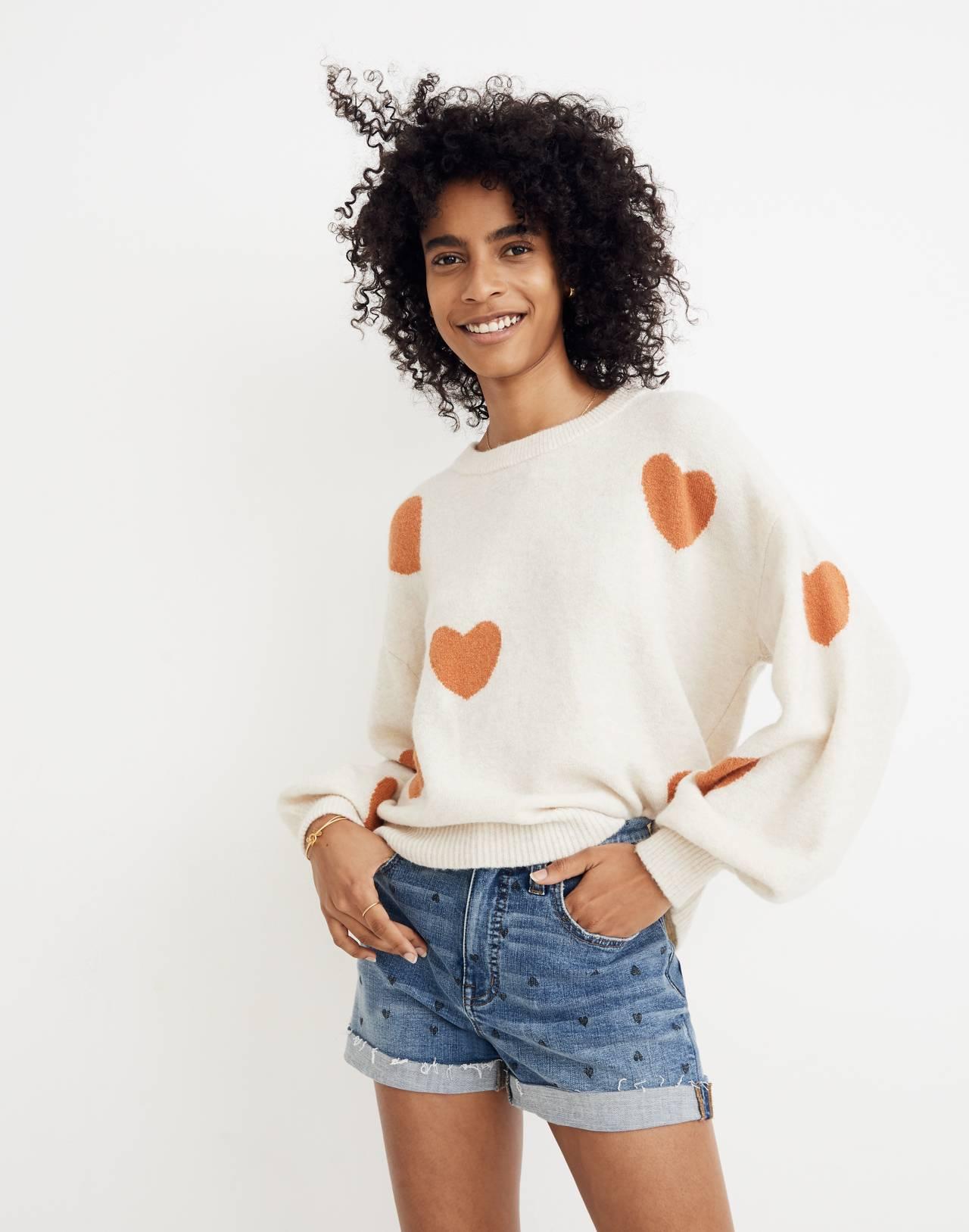 Heart Dot Balloon-Sleeve Pullover Sweater in heather smoke image 1